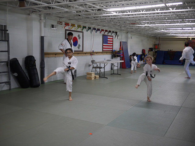 TKD students during a black belt test